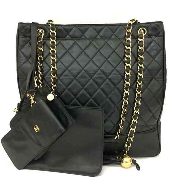 CHANEL Handbags - 💯 Auth CHANEL Lambskin Tote + 3 Mini Pouch